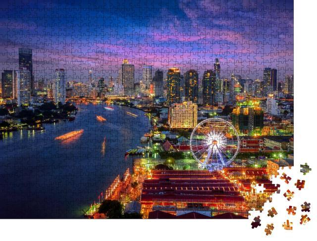 """Puzzle 1000 Teile """"Stadtbild von Bangkok am Abend"""""""
