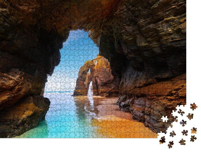 """Puzzle 1000 Teile """"Strand in Ribadeo, Spanien"""""""
