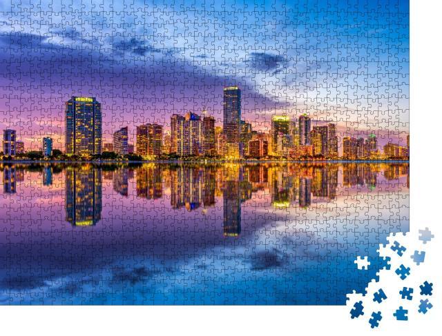 """Puzzle 1000 Teile """"Skyline von Miami an der Biscayne Bay in Florida"""""""