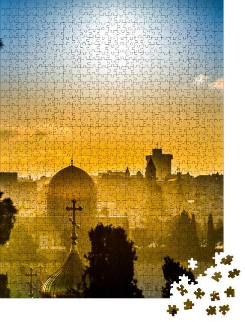 """Puzzle 1000 Teile """"Dächer von Jerusalem im goldenen Licht des Sonnenuntergangs"""""""