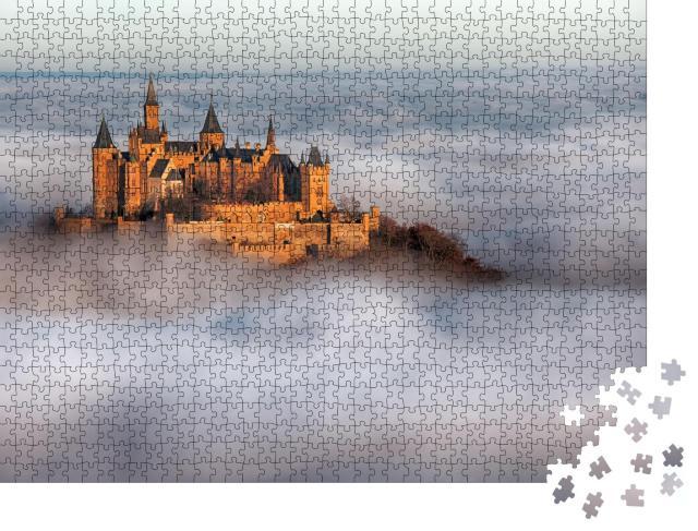 """Puzzle 1000 Teile """"Deutsche Burg Hohenzollern über den Wolken"""""""