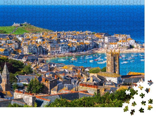 """Puzzle 1000 Teile """"Malerischer Hafen von St. Ives, Cornwall, England"""""""