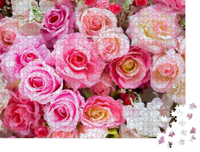 """Puzzle 1000 Teile """"Weiche Farben mit Rosen"""""""