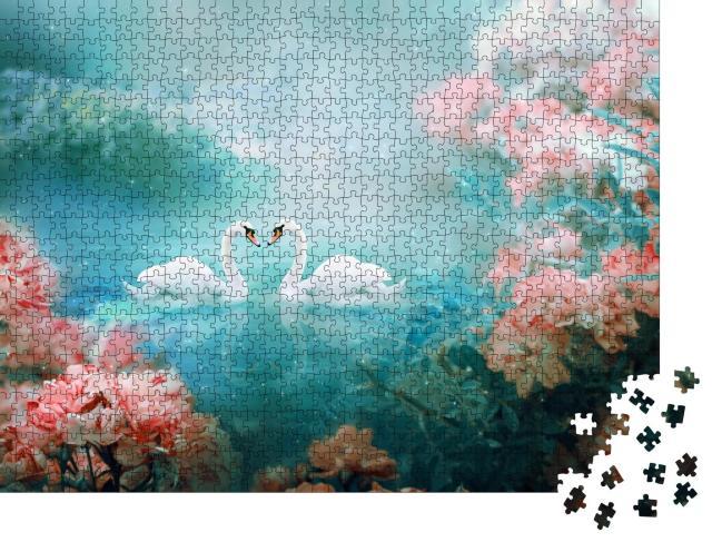 """Puzzle 1000 Teile """"Zwei weiße Schwäne schwimmen durch eine magische Märchenlandschaft"""""""