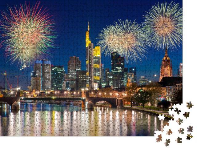 """Puzzle 1000 Teile """"Feuerwerk über Frankfurt am Main, Deutschland"""""""