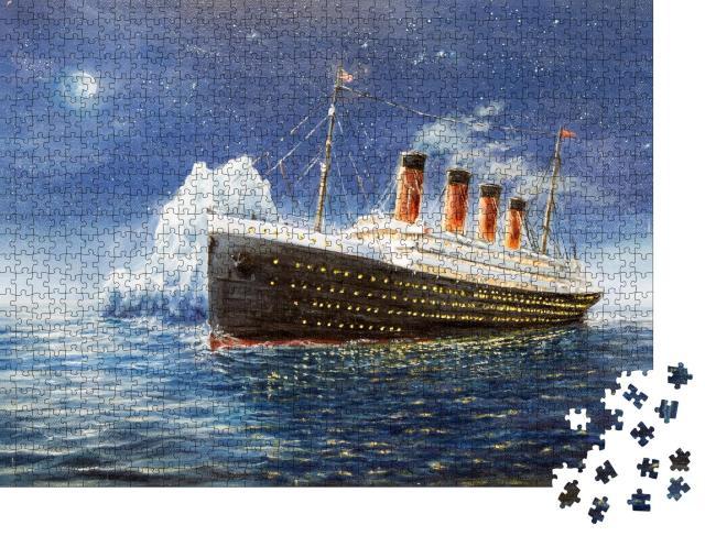 """Puzzle 1000 Teile """"Ölgemälde: Die Titanic zerschellt am Eisberg"""""""