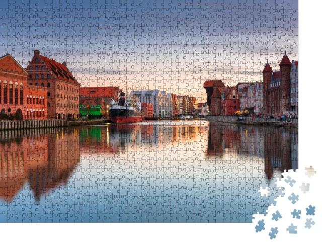 "Puzzle 1000 Teile ""Sonnenuntergang über Danzig am Motlawa Fluss, Polen"""