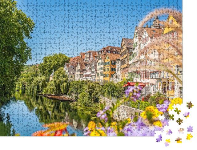 """Puzzle 1000 Teile """"Wunderschöne Häuserfassaden von Tübingen am Neckar"""""""