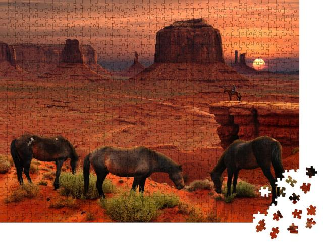 """Puzzle 1000 Teile """"Pferde am John Ford's Point, Monument Valley Tribal Park, Arizona, USA"""""""