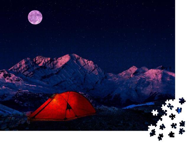 """Puzzle 1000 Teile """"Nachtbiwak in den Bergen unter einer sternenklaren Vollmondnacht"""""""