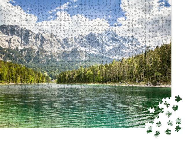 """Puzzle 1000 Teile """"Ein Bild des Eibsees und der Zugspitze in Bayern Deutschland"""""""
