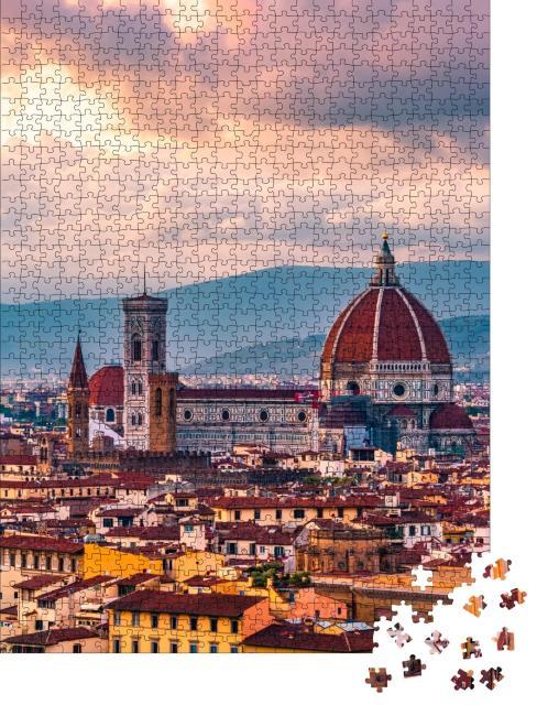 """Puzzle 1000 Teile """"Sonnenuntergang über Florenz in Italien"""""""