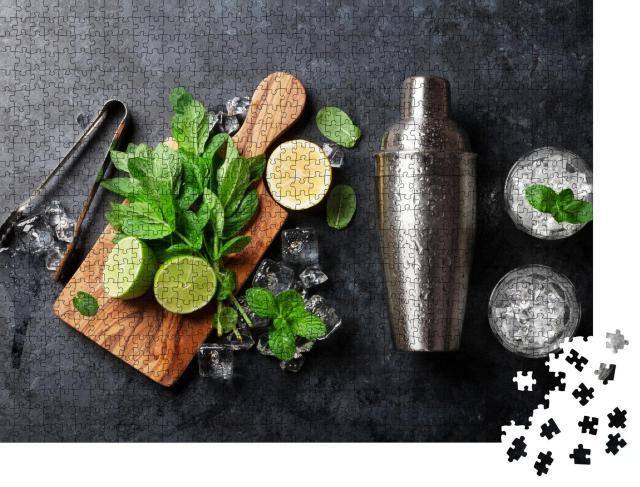 """Puzzle 1000 Teile """"Zutaten für einen Mojito-Cocktails: Shaker, Minze, Limette, Eis"""""""