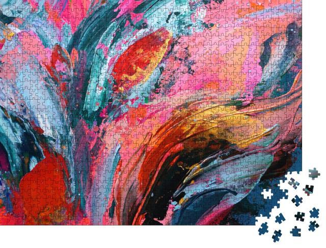 """Puzzle 1000 Teile """"Helle bunte Hand gemalt abstrakten Hintergrund"""""""