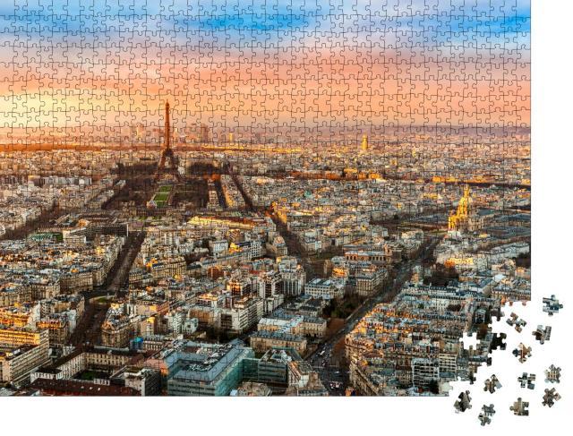 """Puzzle 1000 Teile """"Weitwinkelansicht von Paris bei Dämmerung, Frankreich"""""""