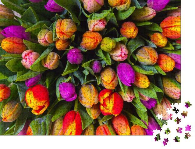 """Puzzle 1000 Teile """"Strauß mehrfarbiger Tulpen, frische Frühlingsblumen"""""""