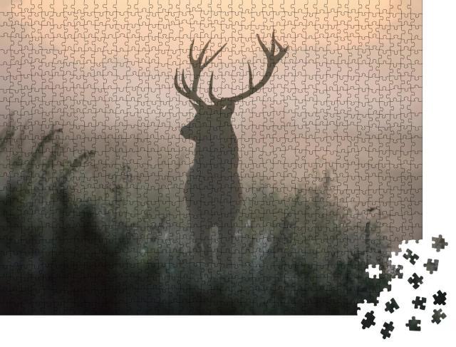 """Puzzle 1000 Teile """"Rehbock an einem ruhigen, nebligen Morgen"""""""