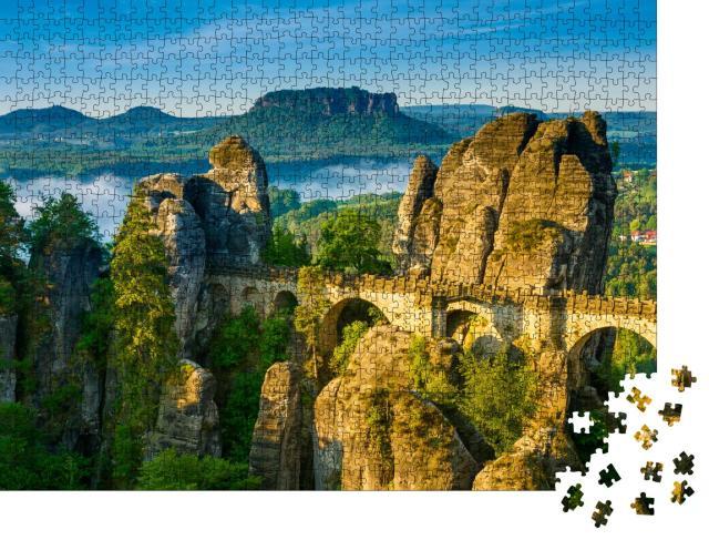 """Puzzle 1000 Teile """"Sonnenaufgang und Nebel an der Bastei, Sächsische Schweiz, Deutschland"""""""