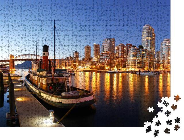 """Puzzle 1000 Teile """"Vancouver in Kanada in der Dämmerung, Wasser, Schiffe, Lichtspiel"""""""