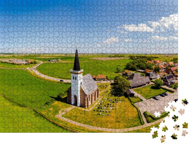 """Puzzle 1000 Teile """"Weiße Kirche in Den Hoorn auf Texel in den Niederlanden"""""""