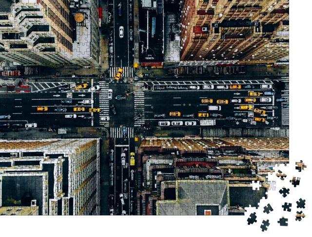 """Puzzle 1000 Teile """"Luftaufnahme von New York Downtown"""""""