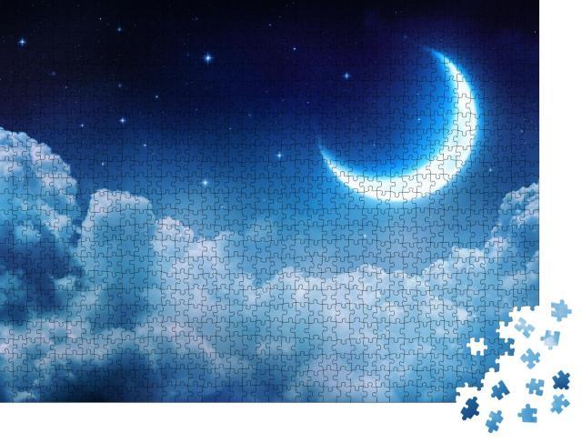 """Puzzle 1000 Teile """"Wunderschöne Mondsichel über den Wolken"""""""