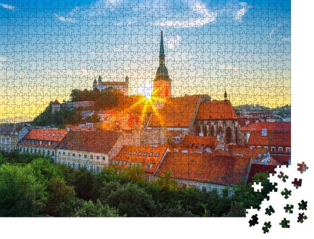 """Puzzle 1000 Teile """"Burg Bratislava über der Donau in der Altstadt von Bratislava, Slowakei"""""""