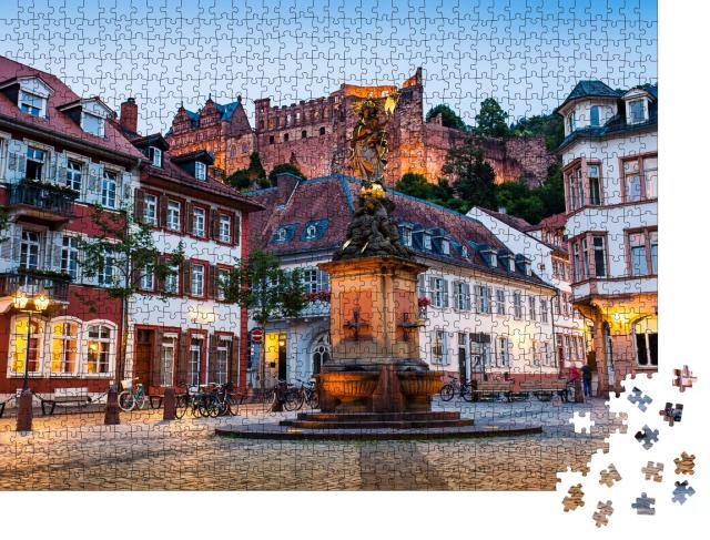 """Puzzle 1000 Teile """"Abend über der Altstadt von Heidelberg"""""""