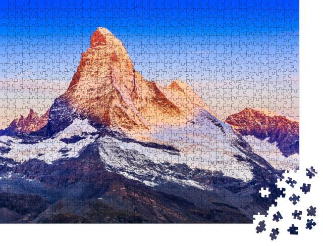 "Puzzle 1000 Teile ""Nordwand des Matterhorns bei Sonnenaufgang, Zermatt, Schweiz"""