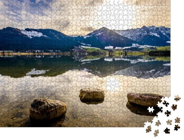 """Puzzle 1000 Teile """"Wilder Kaiser und Zahmer Kaiser am Walchsee in Österreich"""""""