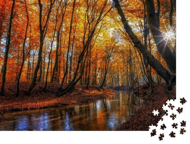 """Puzzle 1000 Teile """"Herbstliche Waldlandschaft mit bunten Blättern und einem Fluss"""""""