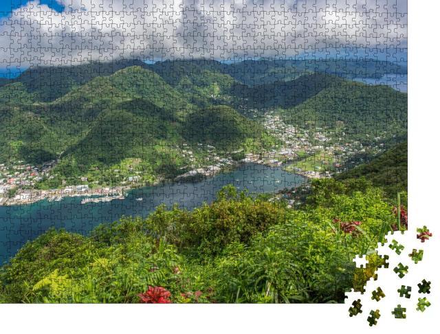 """Puzzle 1000 Teile """"Luftaufnahme des Dorfes Pago Pago und des Hafens"""""""