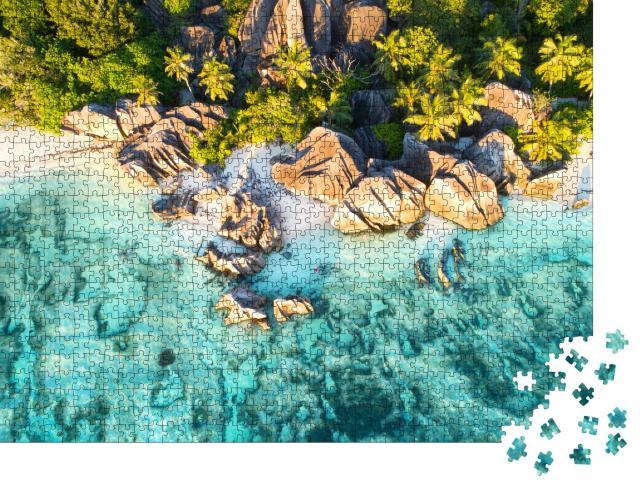 """Puzzle 1000 Teile """"Vogelperspektive auf den wunderschönen Strand Anse Source D`argent, Seychellen"""""""