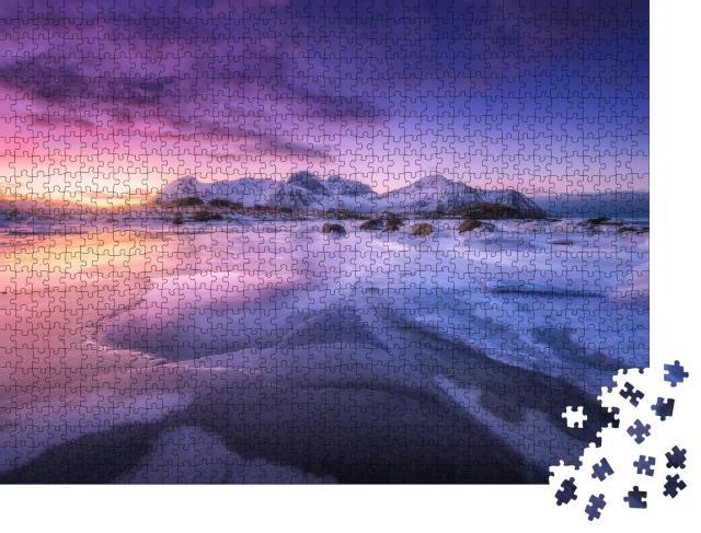 "Puzzle 1000 Teile ""Eisige Meeresküste bei buntem Sonnenuntergang, Lofoten, Norwegen"""