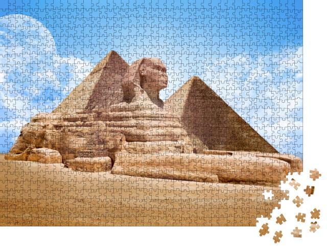"""Puzzle 1000 Teile """"Pyramiden mit Großer Sphinx, Ägypten"""""""