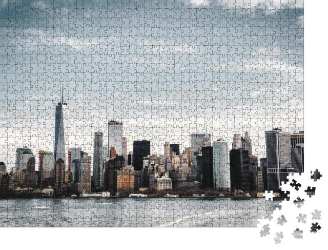 """Puzzle 1000 Teile """"Skyline von Manhattan vom Hudson River aus fotografiert"""""""