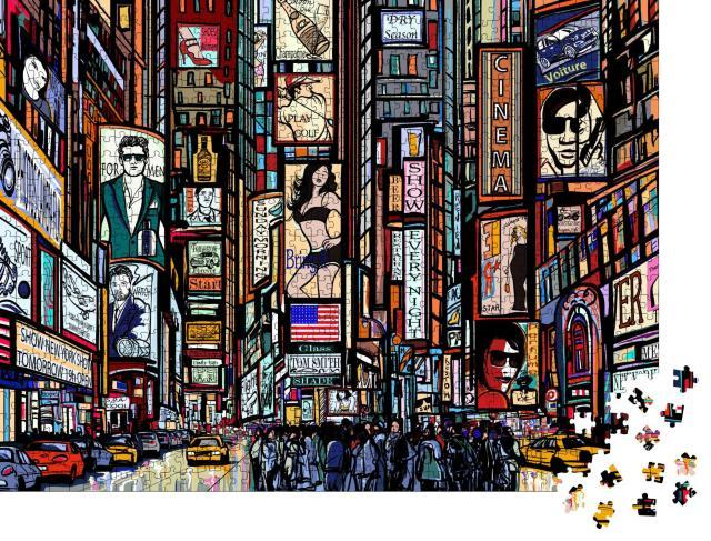 """Puzzle 1000 Teile """"Eine Illustration einer Straße von New York City, Times Square"""""""