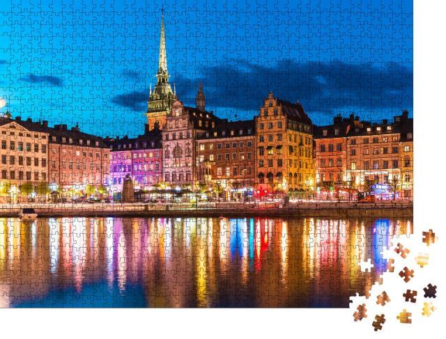 """Puzzle 1000 Teile """"Sommernachtspanorama der Altstadt von Stockholm, Schweden"""""""