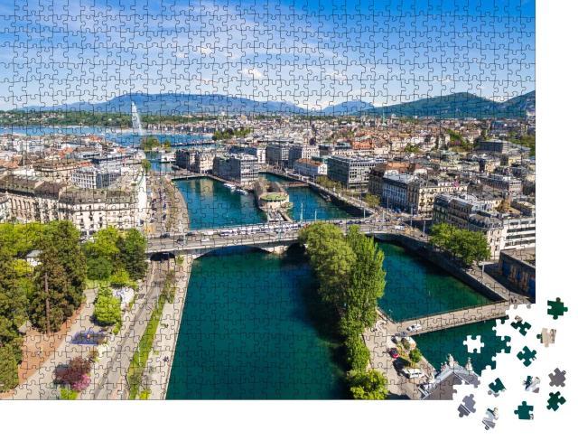 """Puzzle 1000 Teile """"Genfer See und Genf in der Schweiz"""""""