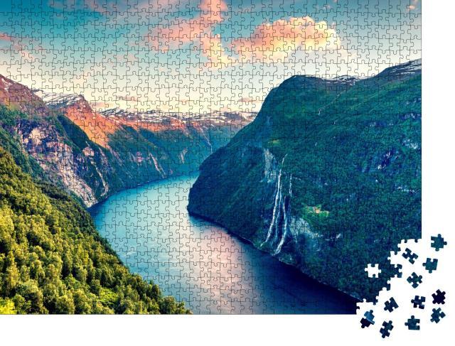"""Puzzle 1000 Teile """"Abendstimmung am Sunnylvsfjord in Norwegen"""""""