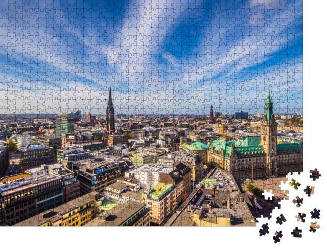 """Puzzle 1000 Teile """"Hamburger Rathaus von oben"""""""
