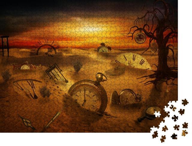 """Puzzle 1000 Teile """"Verschiedene Arten von Uhren stecken im Sand, Metapher für verlorene Zeit"""""""