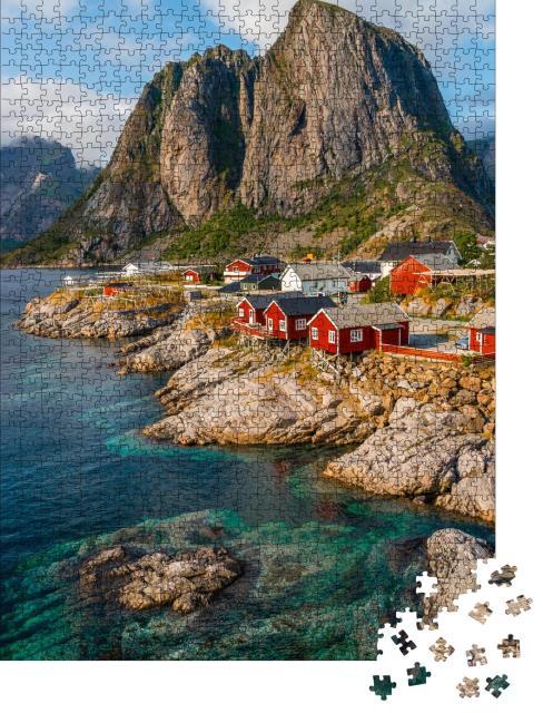 """Puzzle 1000 Teile """"Aufnahme von Hamnoy, Lofoten-Inseln, Norwegen"""""""