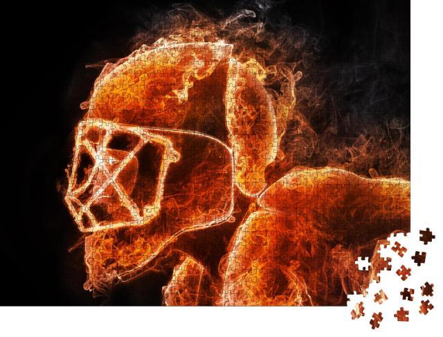 """Puzzle 1000 Teile """"Hockeyspieler: Feuer-Stil auf schwarzem Hintergrund, 2D-Grafik"""""""