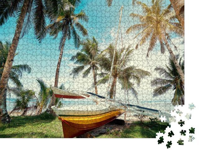 """Puzzle 1000 Teile """"Strand mit Fischerboot, Siargao Insel, Philippinen"""""""