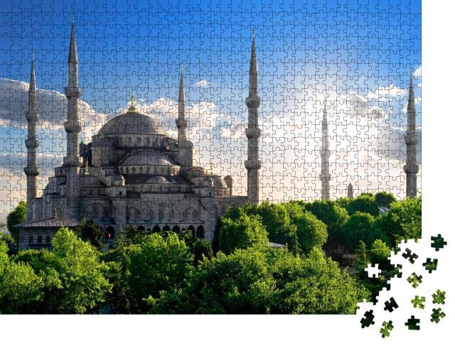 """Puzzle 1000 Teile """"Berühmte Blaue Moschee an einem sonnigen Sommertag, Türkei"""""""