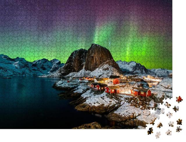 """Puzzle 1000 Teile """"Polarlichter über Hamoy, Norwegen"""""""