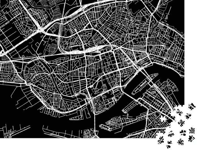 """Puzzle 1000 Teile """"Urbaner Vektor-Stadtplan von Rotterdam, Niederlande"""""""