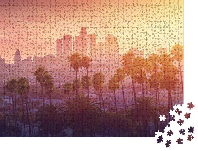 """Puzzle 1000 Teile """"Los Angeles im heißen Sonnenuntergang, Kalifornien, USA"""""""
