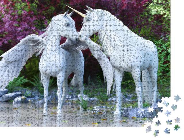 """Puzzle 1000 Teile """"Fantasy: ein Einhorn und Pegasus"""""""